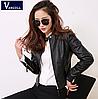 Жіноча шкіряна куртка чорна. Арт.11399