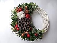 Новогодний рождественский венок с натуральным декором 1 25 см Зеленый 9590031IK, КОД: 258305