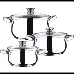 Набір каструль з нерж. сталі зі скляною кришкою Con Brio CB-1142 (2,7л, 3,7л, 6,3л), ІНДУКЦІЯ. Con Brio CB-1142