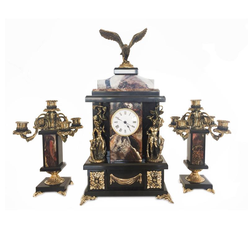 Каминный набор «Охота», часы (h-45х24х11см) та подсвечники 2шт (h-28х15х15 см) (250-3038)