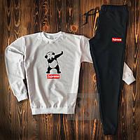 Спортивный костюм мужской Supreme Panda black-white   весенний осенний костюм Свитшот + штаны ТОП качества