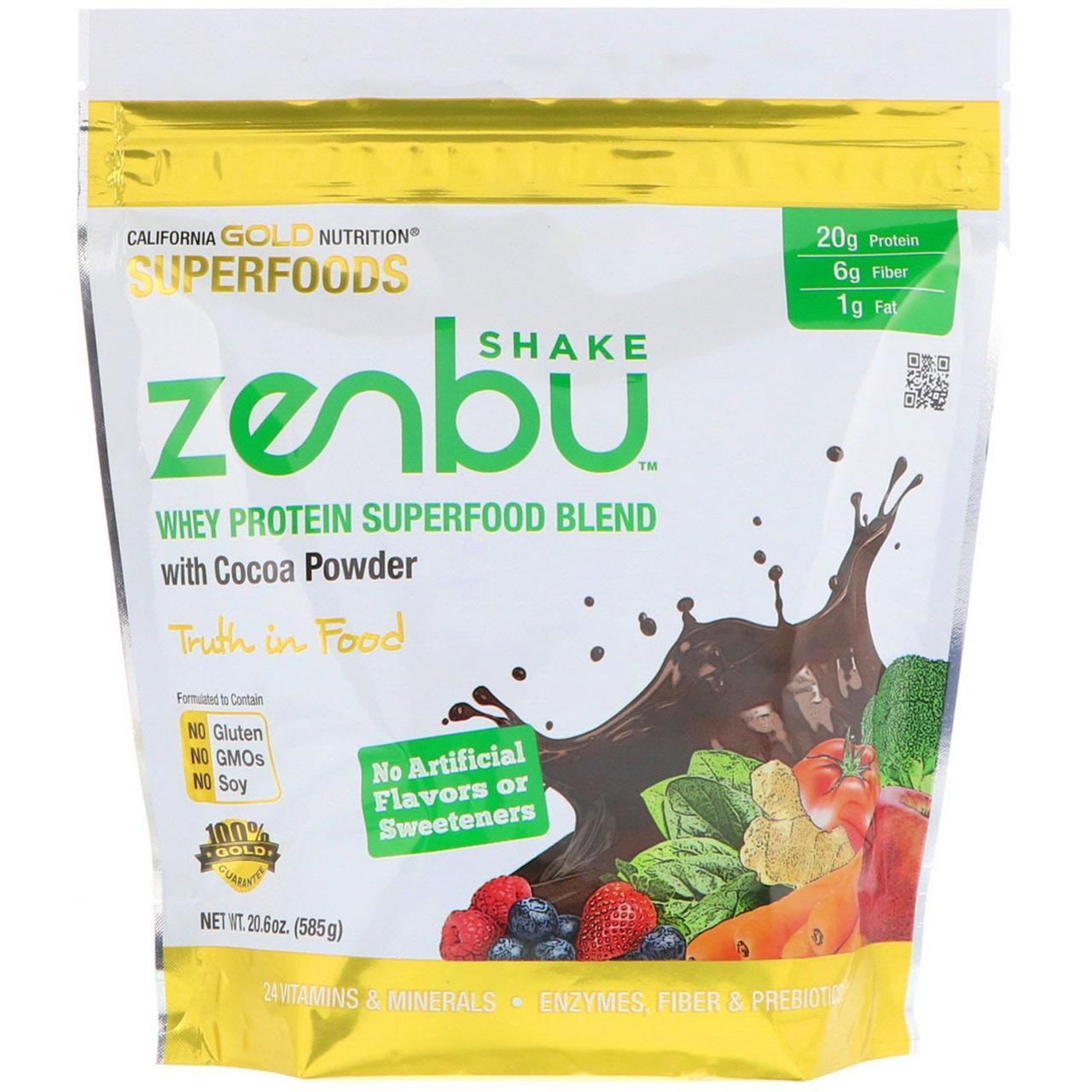 """Сывороточный протеин California GOLD Nutrition, Superfoods """"Zenbu Shake"""" с какао-порошком (585 г)"""