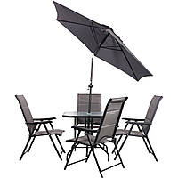 Комплект Playa черный/темно-серый (4 кресла + стол + зонт) ТМ AMF