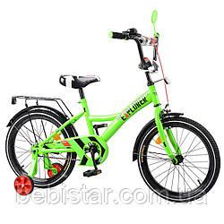 """Детский двухколесный велосипед зеленый TILLY EXPLORER 18"""" передний тормоз, звоночек для деток 5-7 лет"""
