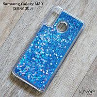 Чехол аквариум для Samsung Galaxy M30 (SM-M305) (синие блестки)