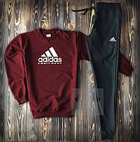 Спортивный костюм мужской Adidas burgundy   весенний осенний костюм Свитшот + штаны Адидас ТОП качества, фото 1