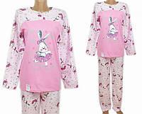 Пижама с брюками женская трикотажная домашний комплект хлопок, розовая(на кнопке)