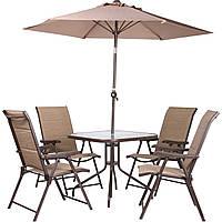 Комплект Playa коричневый/бежевый (4 кресла + стол + зонт) ТМ AMF