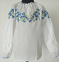 Вишита сорочка для дівчинки з волошками Батист