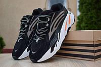 Мужские кроссовки Adidas yeezy boost 700 V 2, замша, черные с белым