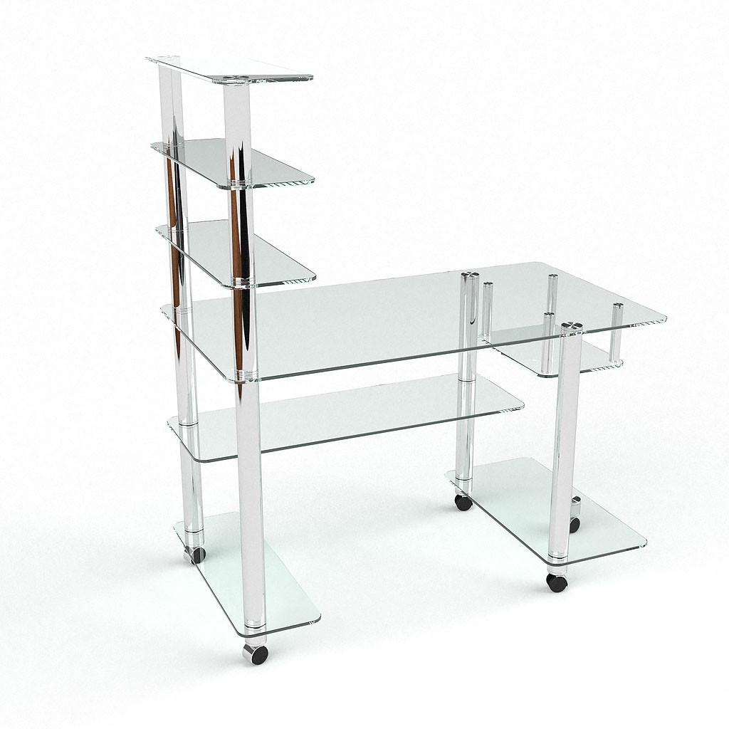 Стеклянный компьютерный прямой стол с надстройкой БЦ Стол Терри