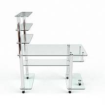 Стеклянный компьютерный прямой стол с надстройкой БЦ Стол Терри, фото 2