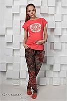 Летние брюки для беременных Hanna, принт в бордовой гамме