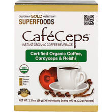 """Органический кофейный напиток California Gold Nutrition """"CafeCeps"""" с грибами кордицепс и Рейши (30 пакетиков)"""