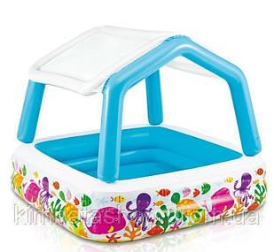 Дитячий надувний басейн Intex 57470 «Акваріум» зі знімним навісом (157*157*122 см)