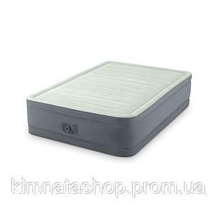 Двоспальне надувна флокірована ліжко Intex 64904 з вбудованим насосом 220V (191*137*46 см)