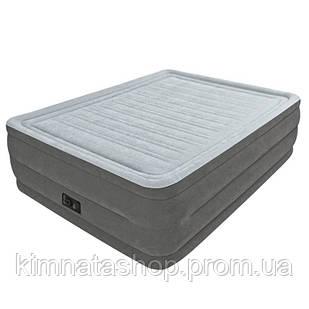 Двоспальне надувна флокірована ліжко Intex 64418 з вбудованим насосом 220V (203*152*56 см)