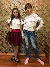 Красивая нарядная школьная блуза с кружевной кокеткой 122-152