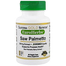 "Экстракт пальмы Сереноа California GOLD Nutrition, EuroHerbs ""Saw Palmetto Extract"" 320 мг (60 капсул)"