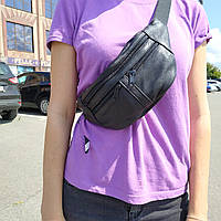 """Кожаная поясная сумка, бананка черная """"Круговорот 3"""", фото 1"""