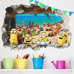 """Наклейка на стену, виниловые наклейки, украшения стены наклейки """"Миньоны на пляже """"Гадкий Я"""" Minion"""" 50см*70см"""