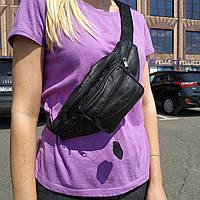 """Кожаная поясная сумка, бананка черная """"Круговорот 2"""", фото 1"""