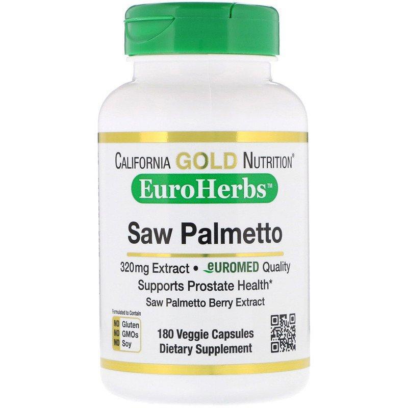 "Экстракт пальмы Сереноа California GOLD Nutrition, EuroHerbs ""Saw Palmetto Extract"" 320 мг (180 капсул)"