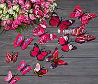 Об'ємні 3Д рожеві метелики для декору інтер'єру, фото 1