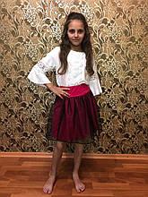 Нарядная блузка с кружевом для девочки в школу, р.122-152