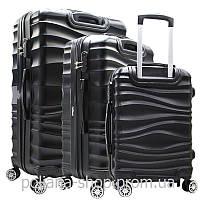 """Набор из трех чемоданов """"go 2 travel"""" черный"""