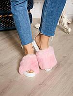Розовые Летние тапочки-шлепки с мехом кролика