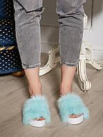 Голубые Летние тапочки-шлепки с мехом кролика