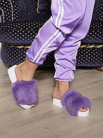 Фиолетовые Летние тапочки-шлепки с мехом кролика
