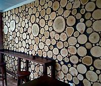 Декоративное панно из срезов дерева на всю стену