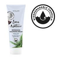 Очищающий крем для умывания с органическим алоэ вера и кокосовой водой Love Nature