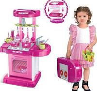 Детская игровая кухня трансформер-чемодан 008-58 с посудой - звук, свет - 49  х 10 х 41см