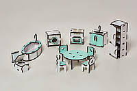 Мебель для Лол, Кухня, Ванная для кукол Лол бело-мятный