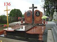 Памятник двойной из гранита лезники и габбро под будущее захоронение
