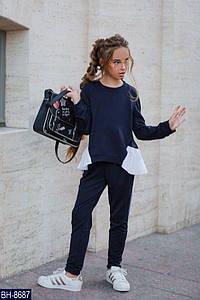 Детский школьный весенне-осенний костюм,свитшот с длинным рукавом+штаны (двунитка,софт плиссе) 2 цвета