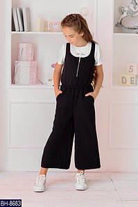 Детский стильный школьный комбинезон с карманами (креп костюмка) 2 цвета