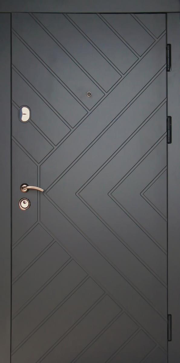 """Металлические входные двери Редфорт """"Гранит"""" серый тисненый МДФ в квартиру"""