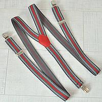 Подтяжка взрослая в полоску Y унисекс 25 мм серо-красный PV25Y0016