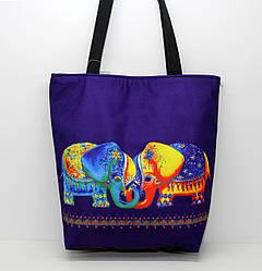 Женская пляжная сумка малого размера из мягкого текстиля с ярким рисунком  слоников