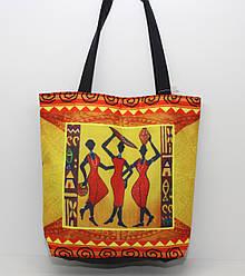Женская пляжная сумка малого размера из мягкого текстиля с ярким рисунком в египетском стиле