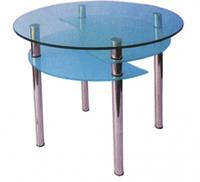 Кухонный стол стеклянный Элегант (столешница-прозрачная,полочка-матовое стекло)