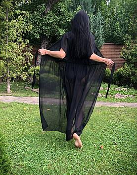 Длинная черная туника,пляжная женская одежда
