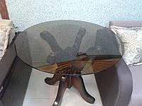 Кухонный стол стеклянный Лотос (столешница-прозрачная,полочка-матовое стекло)