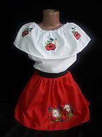Вышитый костюм для девочки с красной юбкой