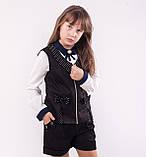 Детский жилет школьный чёрный на змейке для девочки, фото 2