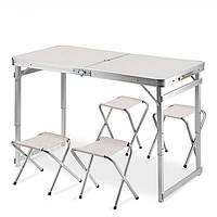 Усиленный стол + 4 стула, раскладной для пикника, туризма и сада Белый